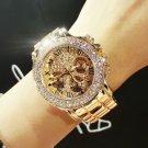 2017 New High Quality Luxury Crystal Diamond Watches Women Gold Watch Steel