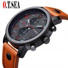 2017 Luxury O.T.SEA Brand Casual Leather Watches Men Military Sports Quartz