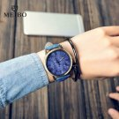 MEIBO Relojes Quartz Men Watches Casual Wooden Color Leather Strap Watch Wo