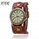 CCQ Luxury Brand Vintage Roman Leather Bracelet Watch Women Antique WristWa