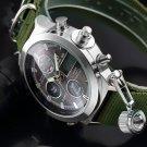 Fashion Brand Men Sports Watches with Nylon Strap Digital Analog Watch Army