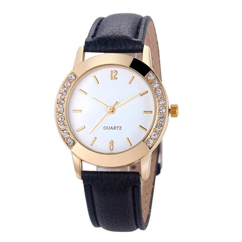 Brand Watches Women Luxury Diamond PU Leather Quartz Wrist Dress Montre Fem