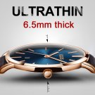 Ultra thin Men's Watches 2017 Top brand Luxury Genuine Leather Casual Quart