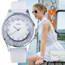 SINOBI Fashion Quartz Watches Women Diamonds Wrist Watch Silicone Watchband