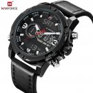 NAVIFORCE Mens Watches Fashion Casual Sport Black Leather Watch Male Clock