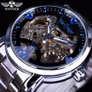 Winner Blue Ocean Fashion Casual Designer Stainless Steel Men Skeleton Watc