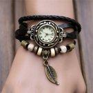 Women Watches Fashion Leather Vintage Weave Wrap Quartz Wrist Watch Bracele
