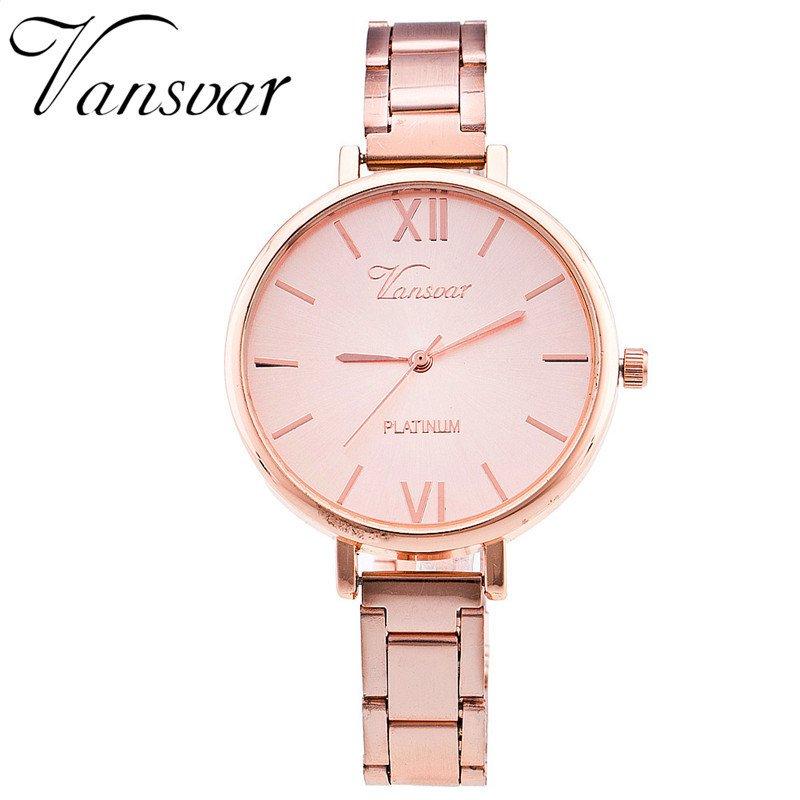 Vansvar Brand Everyday Bracelet Watch Casual Women Wrist Watch Stainless St