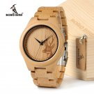 BOBOBIRD D28 Natural Bamboo Wood Watches With Deer Head Engrave Dial With B
