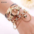 Woman Leather Rhinestone Rivet Chain Quartz Bracelet Wristwatch Watch Luxur