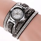 Duoya Brand Fashion Dress Watches Women Casual Silver Crystal Leather Quart