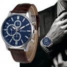 Luxury Watches Men Top Brand GENEVA Quartz Clock Watch Faux Leather Band An