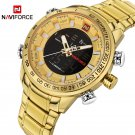 NAVIFORCE Luxury Brand Mens Sport Watch Gold Quartz Led Clock Men Waterproo
