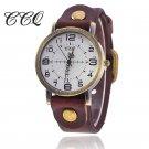 CCQ Vintage Cow Leather Bracelet Watch Women Wrist Watch Casual Luxury Quar
