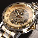 SEWOR Gold Men Skeleton Mechanical Watch Stainless Steel Hand Wind Watches
