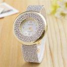 MINHIN Brand Women Dress Watch Luxury Full Crystal Leather Band Quartz Wris