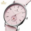 Cute Pink Ladies Watches Kingsky Casual Leather Strap Analog Quartz Watch F