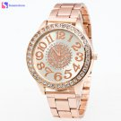 Luxury Brand Big Dial Clock Men Women Watch Rose Gold Stainless Steel Band