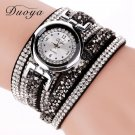 2017 New Watch Women Fashion Black Crystal Leather Silver Bracelet Watch Wo