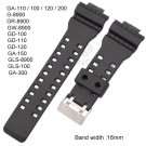 16mm Rubber Watchbands Men Black Sport Diving Silicone Watch Strap Band Met