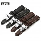 iStrap Genuine Leather Watchband With Butterfly Buckle Bands Croco Grain Br