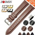 ZLIMSN Real Leather Watchband Black Brown Smooth Women's Watch Band 22mm 20