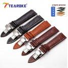 TEAROKE Leather Watch Band Strap Butterfly Deployant Buckle 12 14 16 18 19