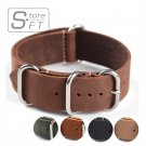 1PC Sales High Quality 18mm 20mm 22mm ZULU Leather Strap Watch band Crazy H