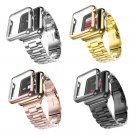 38mm 42mm 3 Points Stainless Steel Strap Gold Plated Protective Case Cover