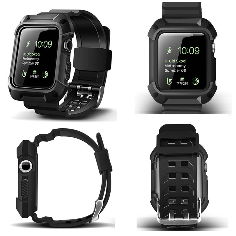 2017 New TPU Rubber Watchband with Protective Case for 38mm 42mm iWatch App
