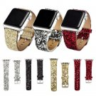 Bling Glitter Powder Leather Watch Band for Apple Watch 38/42mm Wristwatch
