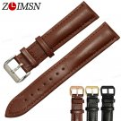 ZLIMSN Smooth Genuine Leather Watchband Replacement Black 20 24mm Men's Wat
