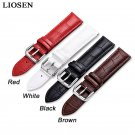 LIOSEN Genuine Leather Buckle Strap Watch Band Charm Red White Black Brown