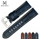 MAIKES 22mm 24mm 26mm watchbands blue genuine leather watch band strap watc