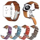 DAHASE Deployment Buckle Genuine Leather Strap for Apple Watch Band Single