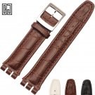 New Italian Leather Watch Band For Swatch Watches Strap Wrist Band 17 19 21