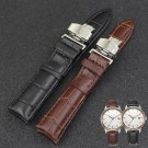 1 PC Luxury Leather Stainless Steel Butterfly Clasp Buckle Watch Band Strap
