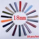 Wholesale 10PCS/Lot 18 mm Watchband MultiColor Nato Strap Watch Band 18mm W