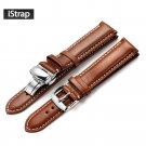 iStrap Watch Band 18mm 19mm 20mm 21mm 22mm Dark brown Genuine Leather Repla
