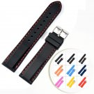 NEW Silicone Rubber Watchbands Strap Stainless Steel Buckle Black Red Stitc