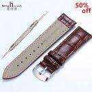 Hight Quality 20mm Watch Band Leather 22mm Men Women Brown Waterproof Watch
