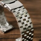 HQ 20mm 22mm Silver/Black Solid Stainless Steel Watch Band Strap Folding Cl