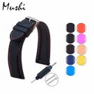 MS Silicone Watchband Diver Watch Band Rubber Watch Strap with Brushed Stai