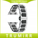 Ceramic & Stainless Steel Watchband + Adapters for 38mm 42mm iWatch Apple W