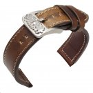 New 20mm 22mm Vintage Genuine Leather Watchbands Black Dark Brown Men Watch