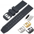 HENGRC Men Rubber Watch Band Black 23mm Sport Waterproof Silicone Strap Sta