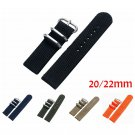 20mm 22mm Military Nylon Fabric Canvas Wrist Band Strap Stainless Steel Bla