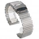 18mm 20mm 22mm 24mm Stainless Steel Mesh Wrist Watch Band Fashion Silver Wa