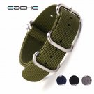 EACHE High Quality Nylon Zulu Watch Band straps  With Stainless Steel Black