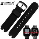 22mm Black Silicone Rubber Wrapped Stainless Steel Watch Band Bracelets rep